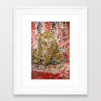 leopard Framed Art Prints featuring Leopard by Michael Hammond