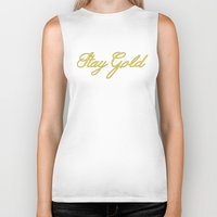 stay gold Biker Tanks featuring Stay Gold by bitobots