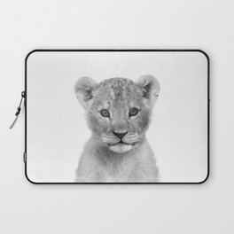 Baby Lion Black & White Art Print by Zouzounio Art Laptop Sleeve