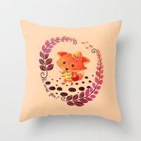 alisa burke Throw Pillows featuring Hello Miss Fox!! by haidishabrina