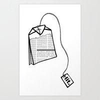 literary Art Prints featuring Literary Tea by Lizzi Davis