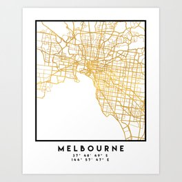 MELBOURNE AUSTRALIA CITY STREET MAP ART Art Print