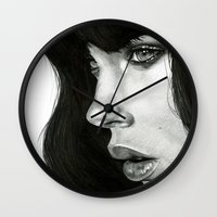 photograph Wall Clocks featuring Girl by BlackNYX