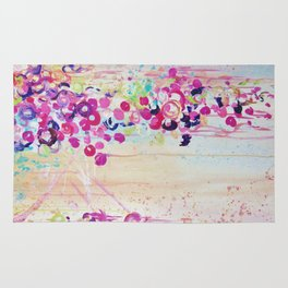 DANCE OF THE SAKURA - Lovely Floral Abstract Japanese Cherry Blossoms Painting, Feminine Peach Blue  Rug
