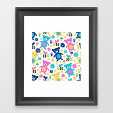 Bee and Bear Children's Pattern Framed Art Print