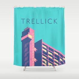 Trellick Tower London Brutalist Architecture - Text Sky Shower Curtain