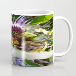 Close Up Of Passion Flower with Honey Bee  Coffee Mug