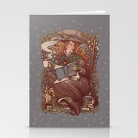 Stationery Cards featuring NOUVEAU FOLK WITCH by Medusa Dollmaker