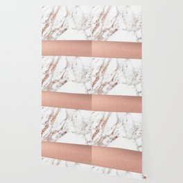 Rose gold marble and foil Wallpaper