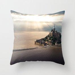 Mont Saint Michel island, Southern France Throw Pillow
