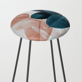 Blush & Blue Leaves Counter Stool