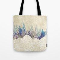 dreams Tote Bags featuring Snowy Dreams  by rskinner1122