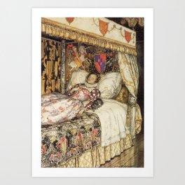 Arthur Rackham - The Allies' Fairy Book (1916) - The Sleeping Princess Art Print