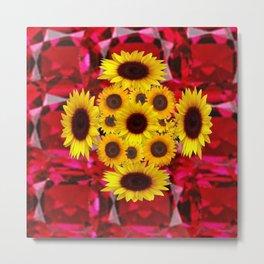 JULY RUBY RED GEMSTONES & YELLOW FLOWERS Metal Print