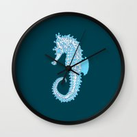 sea horse Wall Clocks featuring Sea horse by Thom Deer