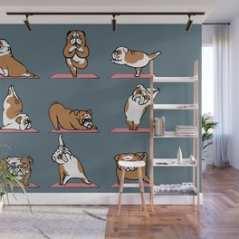 English Bulldog Yoga Wall Mural