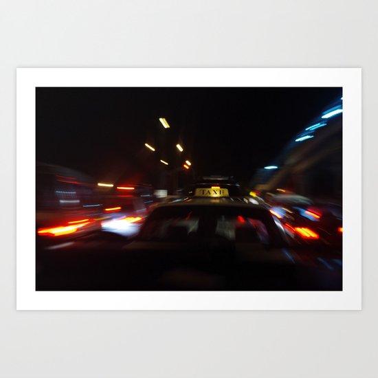 Taxi Space Warp Art Print