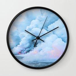 Pastel volcano smoke Wall Clock