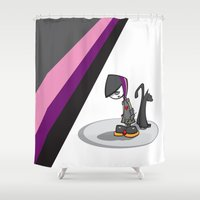 goth Shower Curtains featuring Goth Girl by Atomic Sponge