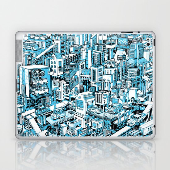 City Machine - Blue Laptop & iPad Skin