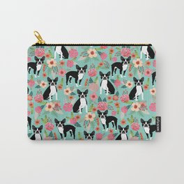 Boston Terrier floral dog breed pet art must have boston terriers gifts Carry-All Pouch