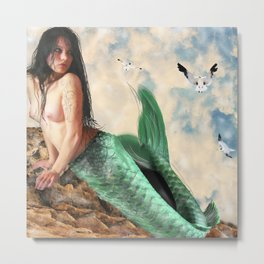 Sea Siren, Nude mermaid art Metal Print