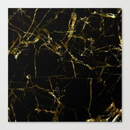 Golden Marble - Black and gold marble pattern, textured design Canvas Print