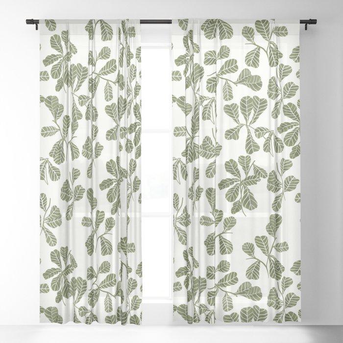 Fig Leaf Pattern Sheer Curtain
