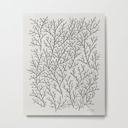 Berry Branches – Silver & Black Metal Print