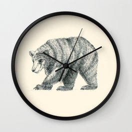 Brown Bear Graphite Study Wall Clock