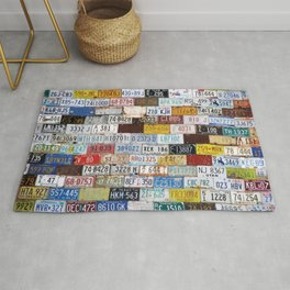 State License Plate Collage Rug