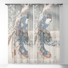 Japanese Vintage Kunisada Hiroshige Snowy Landscape Sheer Curtain