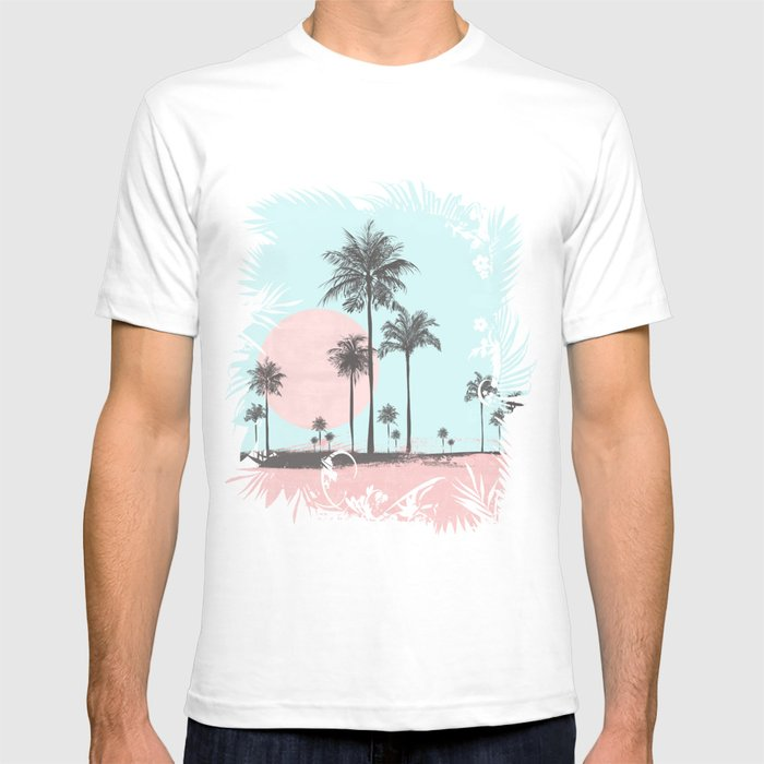 Beachfront Palm Tree Soft Pastel Sunset Graphic Graphic T-shirt by Lebensart - White - LARGE - Mens Fitted Tee