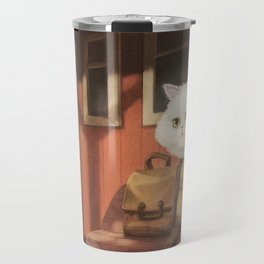 A cat waiting for someone Travel Mug