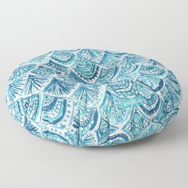 NAVY LIKE A MERMAID Fish Scales Watercolor Floor Pillow