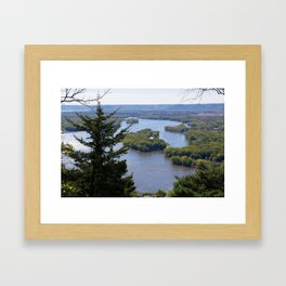 Upper Mississippi River, looking downriver from Buena Vista Park, Alma, WI Framed Art Print