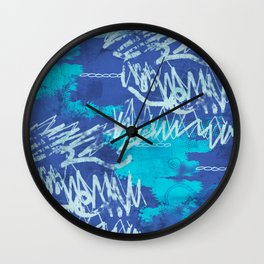 scratching blue Wall Clock