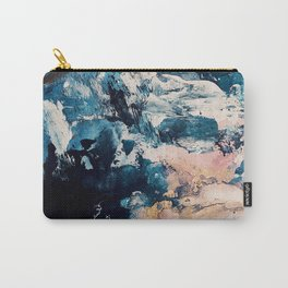 Sweetly: a bohemian, abstract work on paper in blue, pink, white, and gold Carry-All Pouch