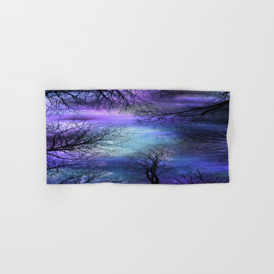 Black Trees Purple Blue Abstract Sky Hand & Bath Towel