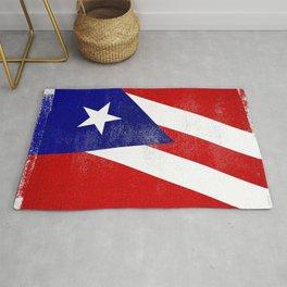 Puerto Rican Distressed Halftone Denim Flag Rug