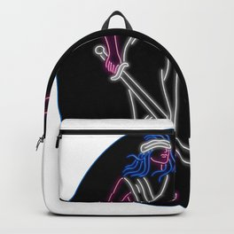 Lady Justice Holding Sword and Balance Oval Neon Sign Backpack