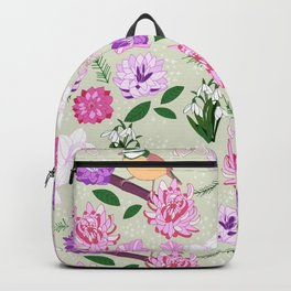 Joyful spring pink toned floral pattern with bird Backpack