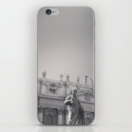 St. Peter's Basilica, Vatican City, Rome, architecture photography, black & white, Baroque iPhone Skin