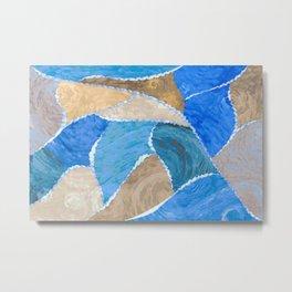 blue smeared patchwork Metal Print