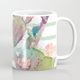 Watercolor cactus, floral and stripes design Coffee Mug