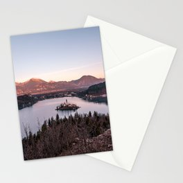 Sunset at Lake Bled, Slovenia Stationery Cards
