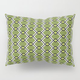 1960's Inspired Green, Yellow, Black and White Pattern Pillow Sham