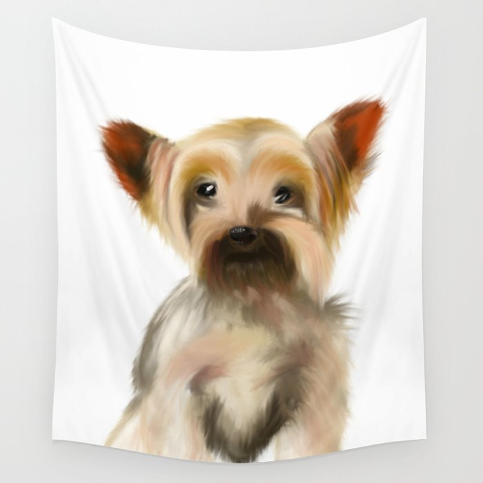 Yorkie Puppy on White Wall Tapestry by barefootartonline
