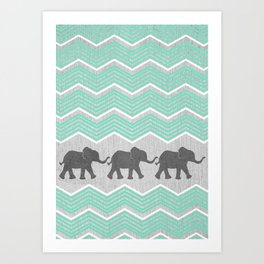 Three Elephants - Teal and White Chevron on Grey Art Print
