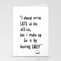 the office Stationery Cards featuring Office hours by John Medbury (LAZY J Studios)